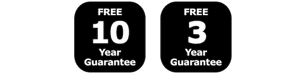 Free 10-year guarantee, Free 3-year guarantee