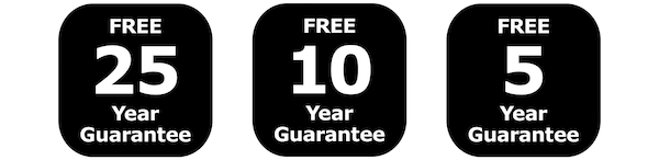 Free 25-year guarantee, free 10-year guarantee and free 5-year guarantee