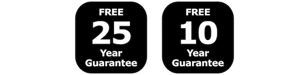Free 25-year guarantee, Free 10-year guarantee
