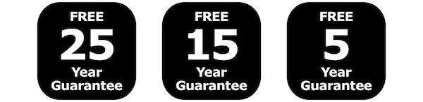 Free 25-year guarantee, Free 15-year guarantee, Free 5-year guarantee