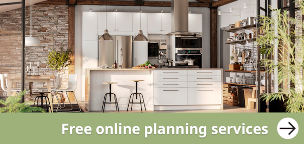 Free online planning service - Don't just dream it plan it.  A Modern white VEDDINGE kitchen dining room
