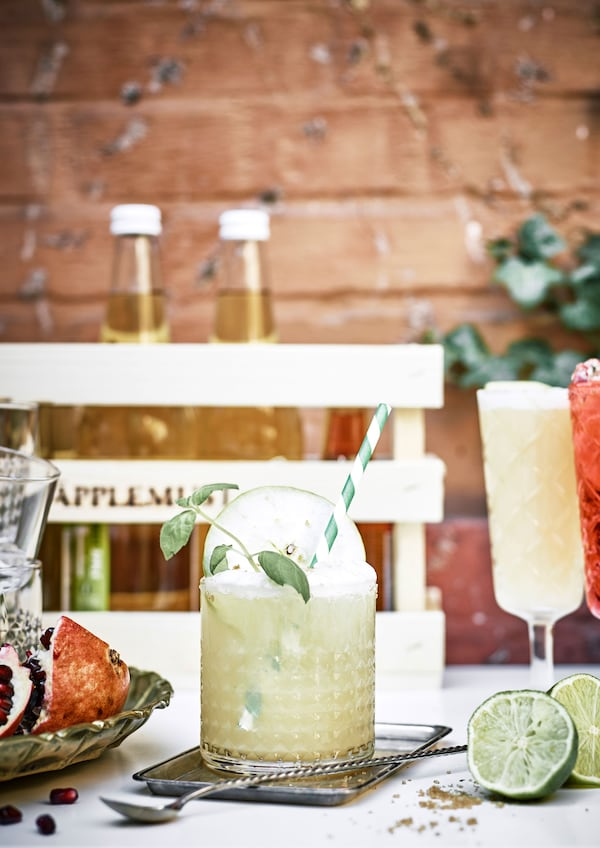 Fresh apple and elderflower cocktail