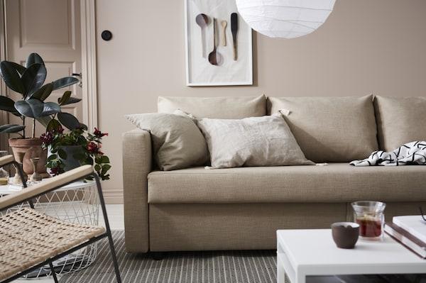 FRIHETEN Sofá cama 3 plazas, Hyllie beige