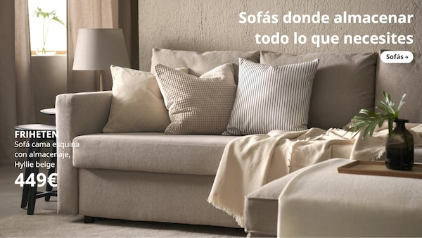 FRIHETEN Sofá cama esquina con almacenaje, Hyllie beige