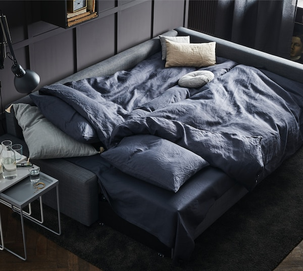FRIHETEN Sofá cama esquina con almacenaje Skiftebo gris