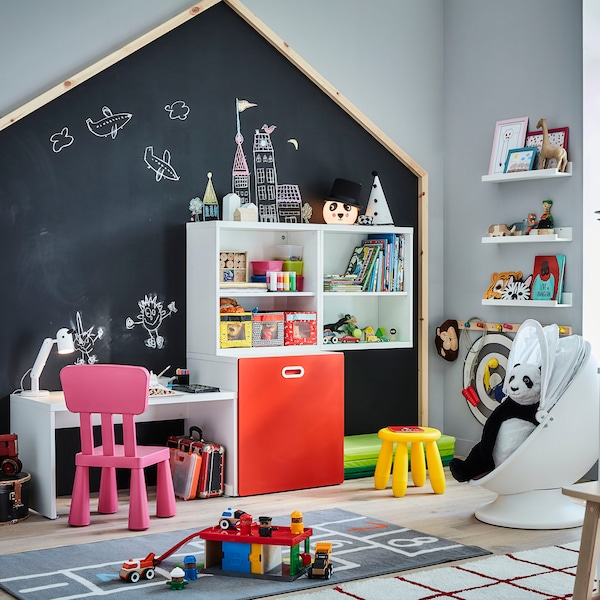 FRITIDS table with toy storage 150x50x128 cm white/red