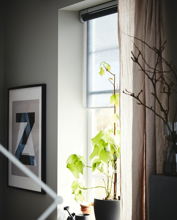 FYRTUR Block-out roller blind, wireless, battery-operated grey, 60x195 cm