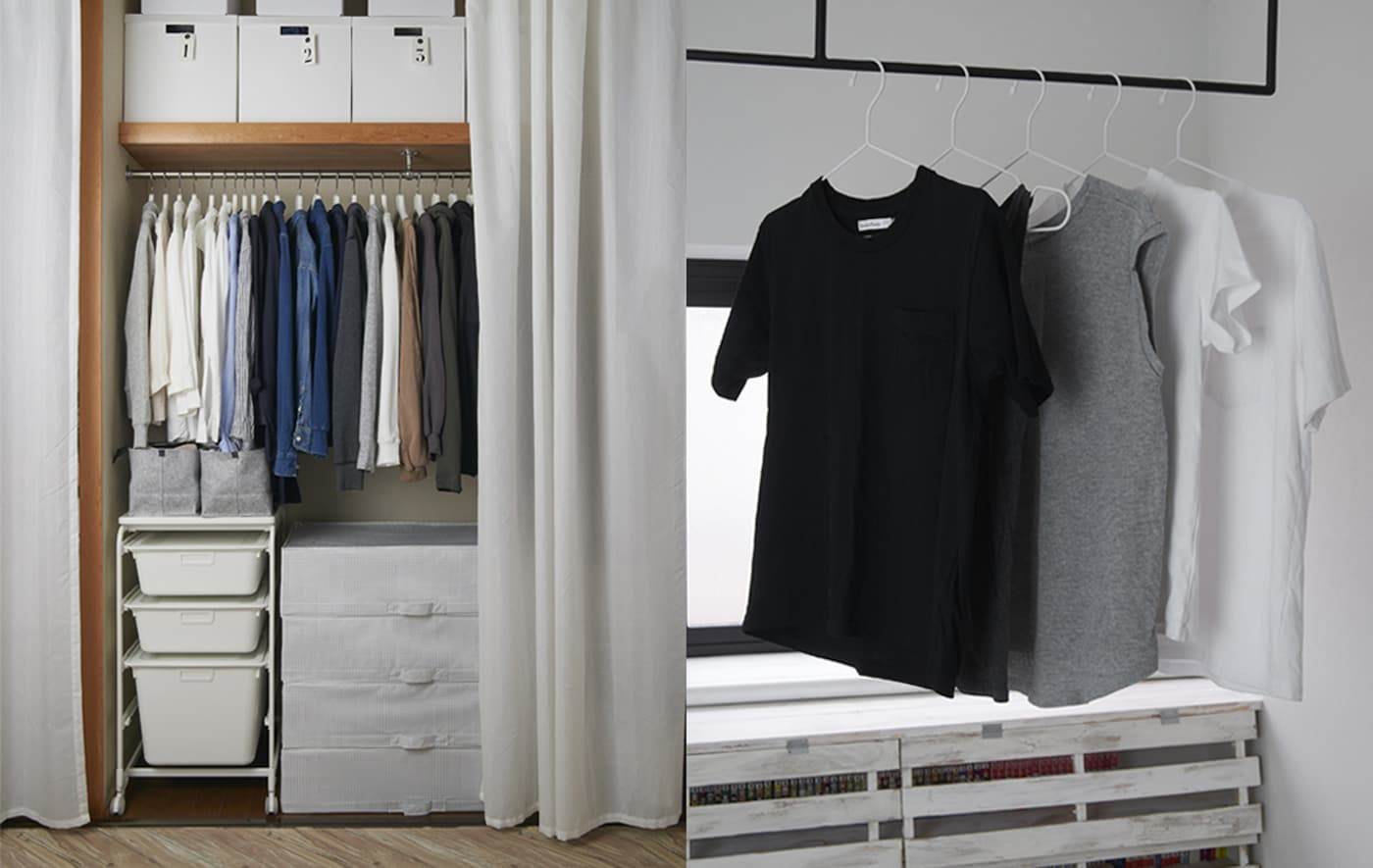 Garde-robe ouverte avec niche, constituée d'une tringle, d'une tablette et de boîtes et T-shirts accrochés à une barre en travers d'une fenêtre.
