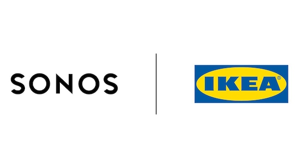 Gemeinsames Logo von Sonos und IKEA, das aus dem Sonos und dem IKEA Logo besteht