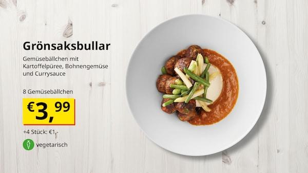 Gemüsebällchen mit Kartoffelpüree, Bohnengemüse und Currysauce
