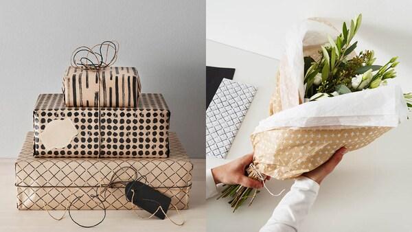 Geschenke in Papier verpackt und ein Blumenstraß in Papier gewickelt.
