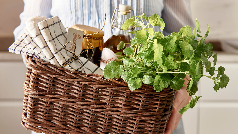 Geschenkkorb mit einer Pflanze, EInmachgläsern und einem Geschirrtuch
