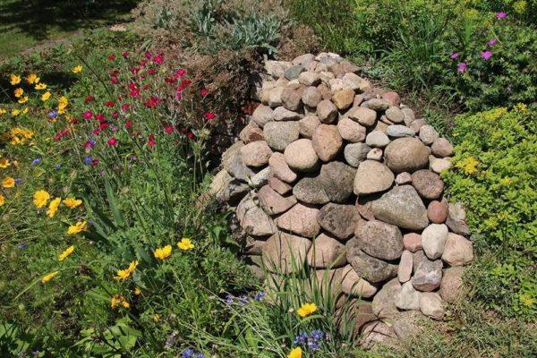 Gestapelte Steinhaufen dienen Insekten und Eidechsen als Sonnenplatz und Unterschlupf.