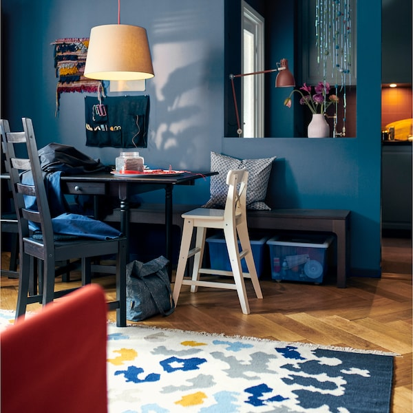 Get a flexible dining spot with IKEA INGATORP black-brown drop-leaf table. Want extra space? Just pull up one or two leaves!