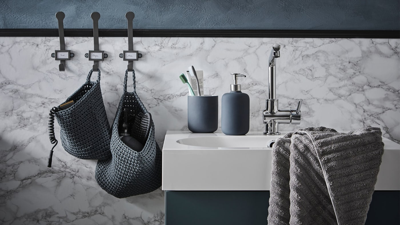 Get organised with our wide range of bathroom accessories - complete with shower shelves, towel rails, tothbrush holders, toilet brushes, hooks, boxes and baskets.