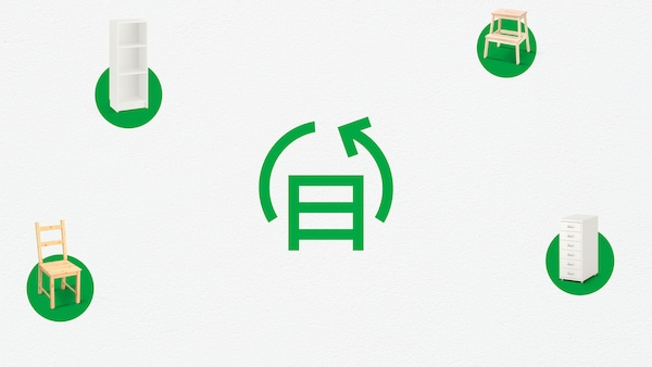 Gjenbrukssymbol på en grønn bakgrunn, og et grønt bord til høyre.