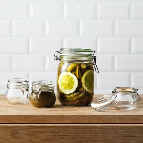 Glazen KORKEN opbergpotten met citroenen erin