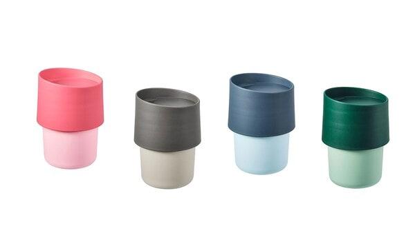 gobelets IKEA TROLIGTVIS rose, gris, bleu, vert