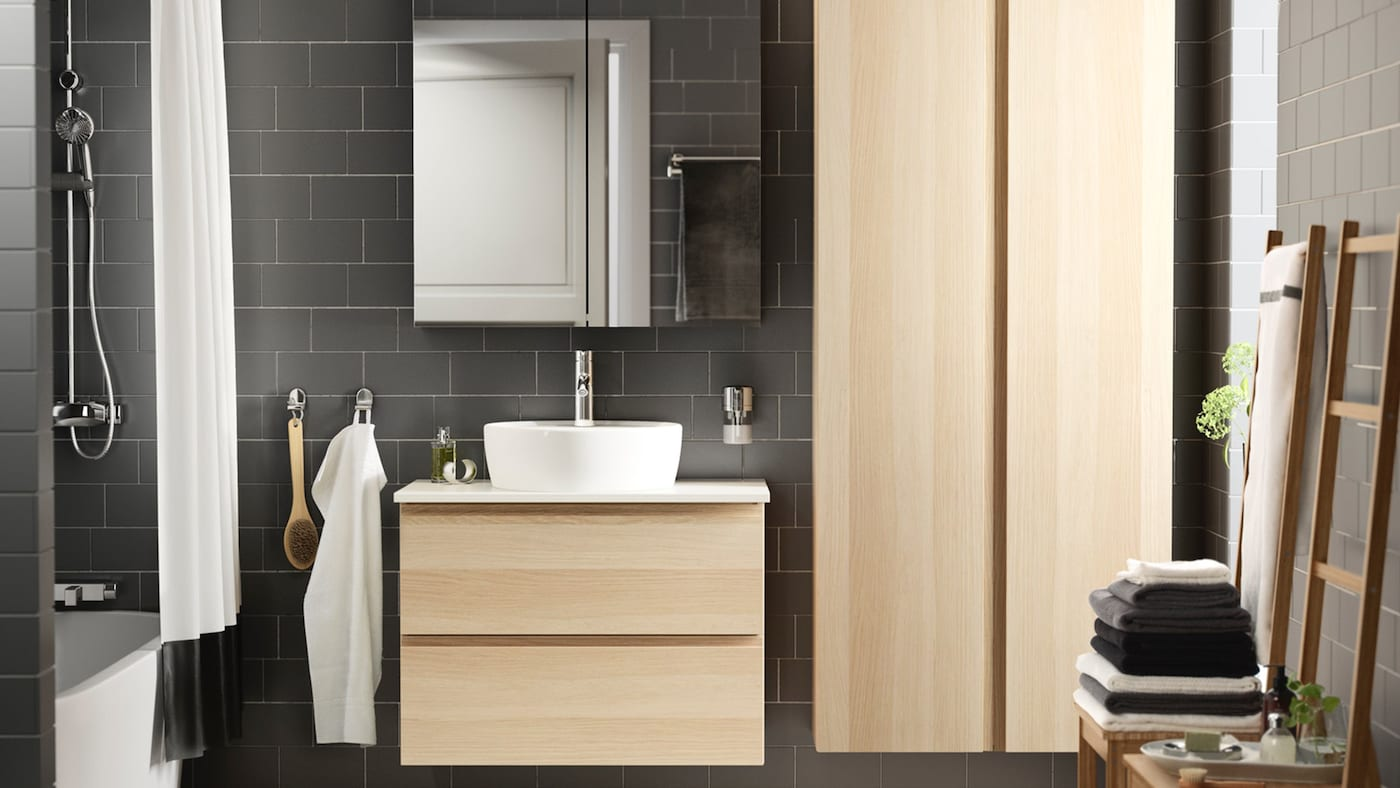 GODMORGON wash-stand with 2 drawers 80x47x58 cm white stained oak effect