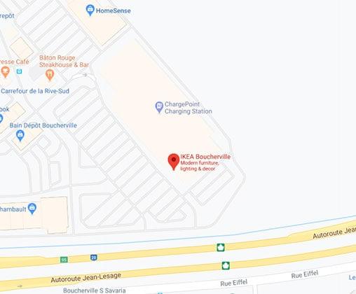 Google map of IKEA Boucherville Store.