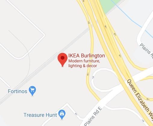 Google map of IKEA Burlington Store