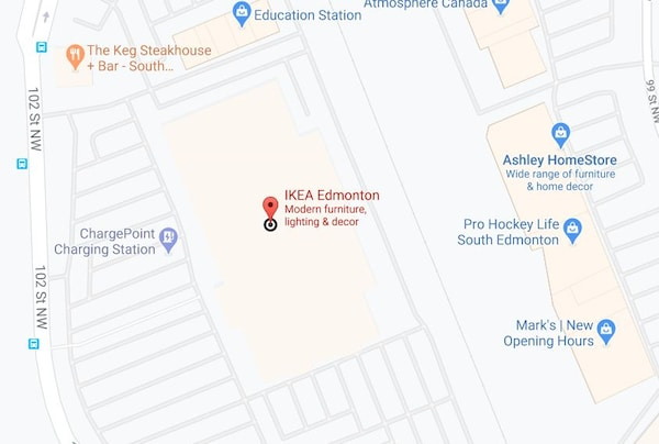 Google map of IKEA Edmonton Store.