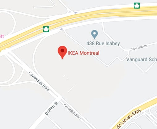 Google map of IKEA Montreal Store