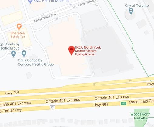 Google map of IKEA North York Store