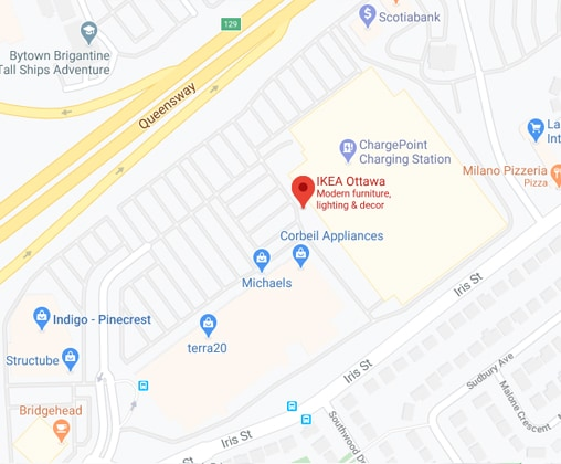 Google map of IKEA Ottawa Store
