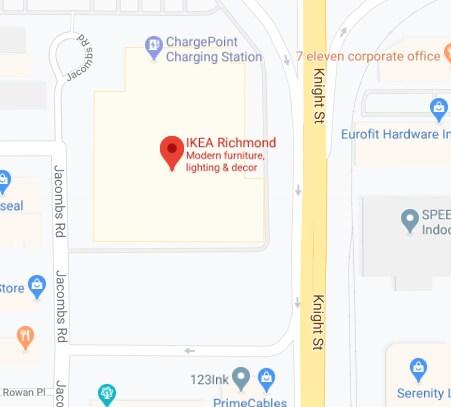 Google map of IKEA Richmond Store