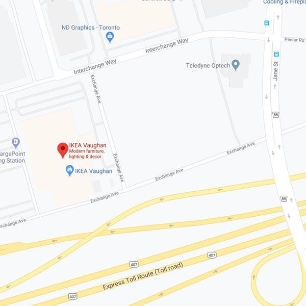 Google map of IKEA Vaughan Store