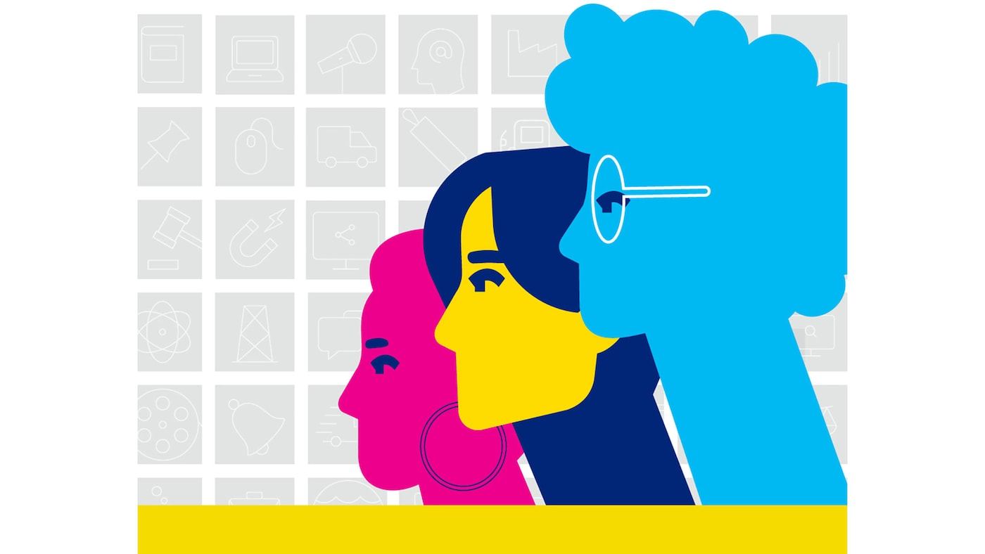 Graphic of 3 heads in different colors- blue, yellow and pink- against a gray and white grid pattern, symbolizing equality.