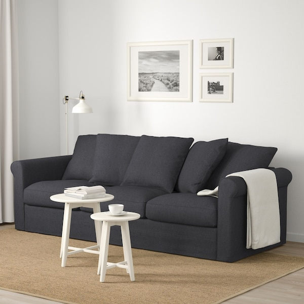 Gray GRONLID 3-seat sofa in a white room