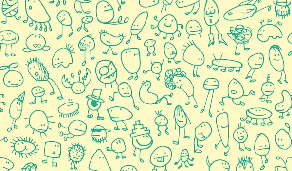 Green kids' drawings of fantasy creatures on a yellow background.