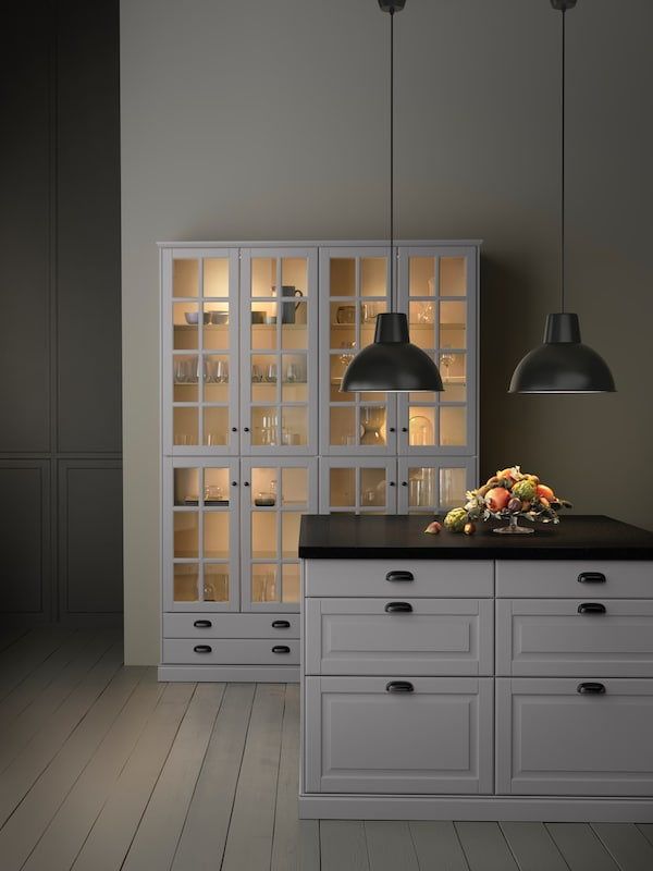 grey kitchen with grey framed glass-panel doors