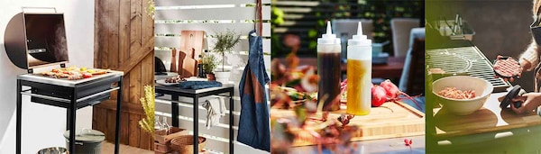 Grillen in verschiedenen Varianten: KLASEN Griller als Outdoor Küche, mit Grillgut, KLASEN Servierwagen, GRILLTIDER Schürze. GRILLTIDER Burgerpresse. GRILLTIDER Soßenflasche