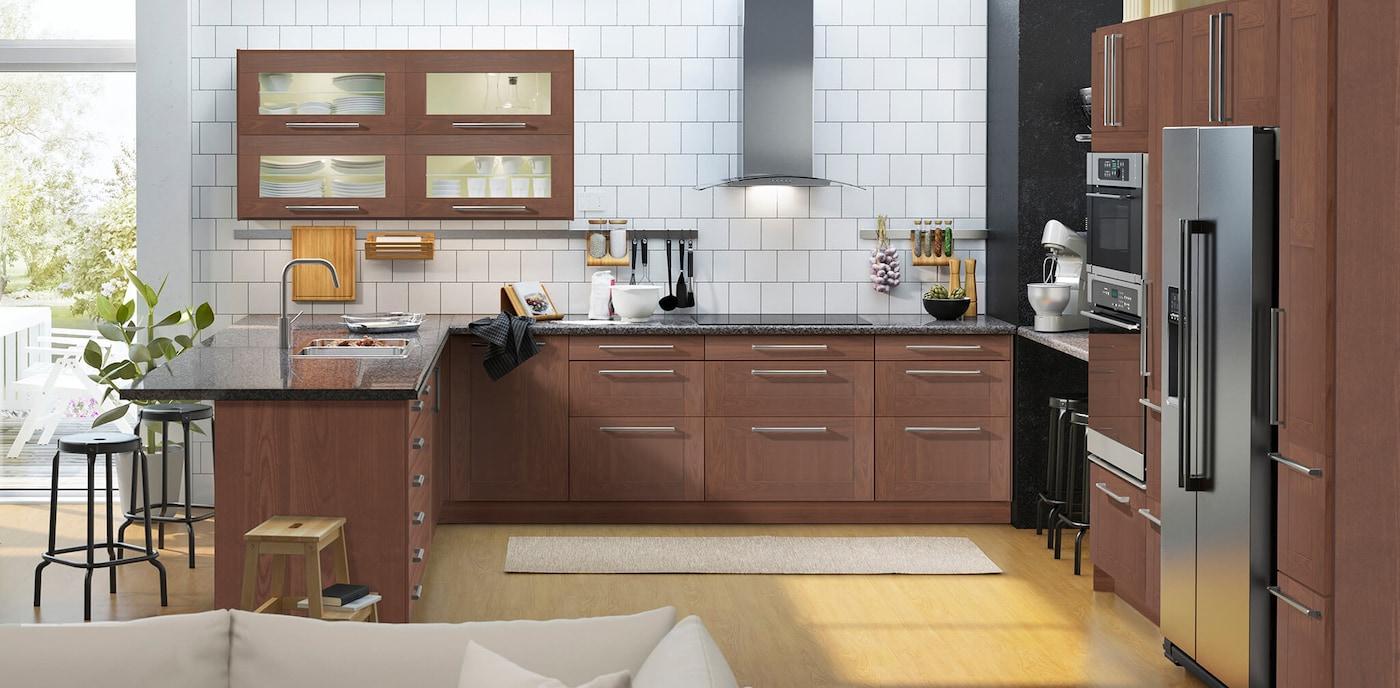 Brown Kitchen Cabinets Grimslov Series Ikea