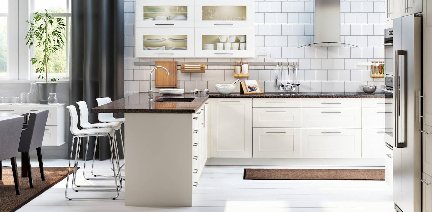 Off White Kitchen Cabinets Grimslov Series Ikea