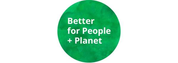 "Grünes ""Better for People + Planet""-Logo"