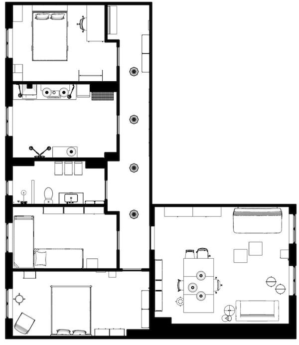 Grundriss der WG-Wohnung mit der Einrichtung von Hans Blomquist.