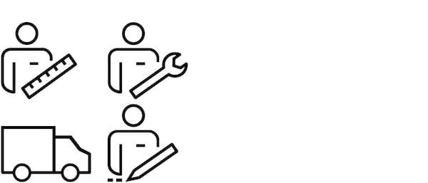 Grupa piktograma za uslugu kompletne kuhinje