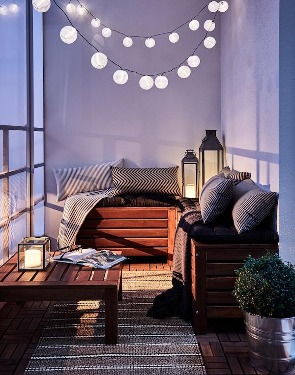 Guirnalda de luces LED para decorar el balcón y la terraza con estilo chill out