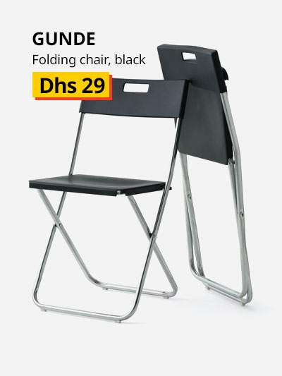 gunde folding chair black