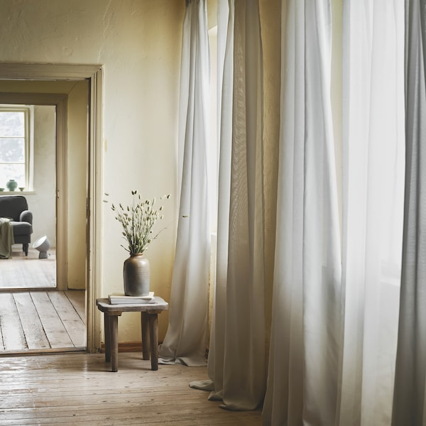 GUNRID Air purifying curtain, 1 pair, light grey, 145x250