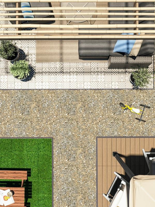 Hageterrasse med forskjellige typer utendørsgulv, inkludert MÄLLSTEN gulvplater med planter og en lenestol på.