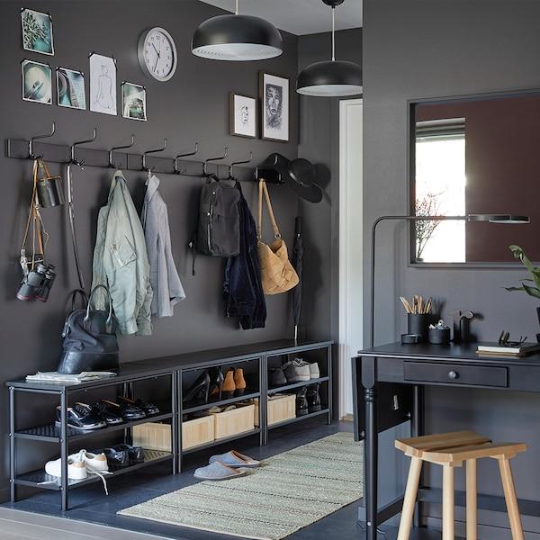 Hallway with racks and shoe storage