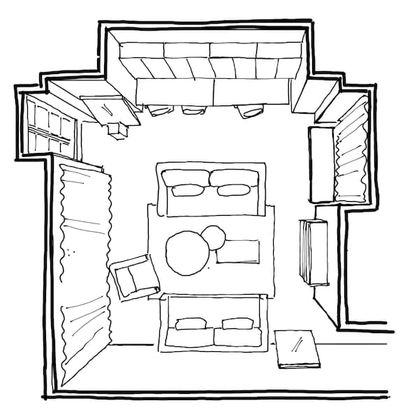 Hand drawn floor plan for a 29 setre square living room.