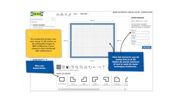 Handleiding keukenplanner lay-out van de ruimte maken