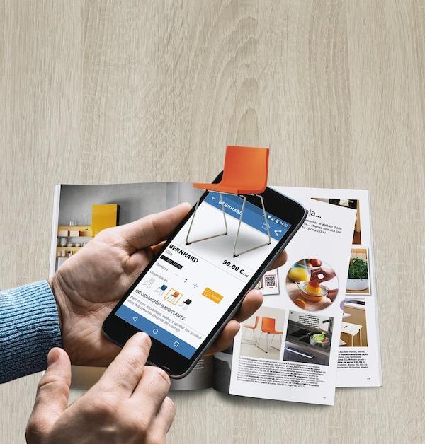 hands holding IKEA mobile app