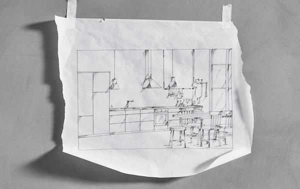 Håndtegnet skitse af et lige IKEA køkken sat op på en væg med tape